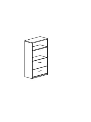 Armario carpetero con 2 cajones para archivo 90x156x45cm. Incluye 1 estante. Blanco/Blanco